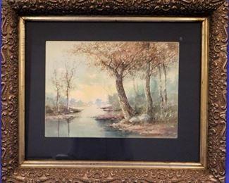 R. Hills Bemish Watercolor Landscape on Paper
