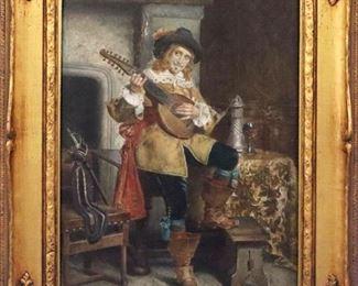 "T. Sabati Oil on Board , ""The Cavalier"""