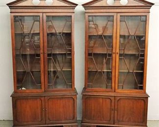 """Pr. of Mahogany Bookcases, """"Wallace Nutting Collection""""  by Drexel. 84"""" high"""