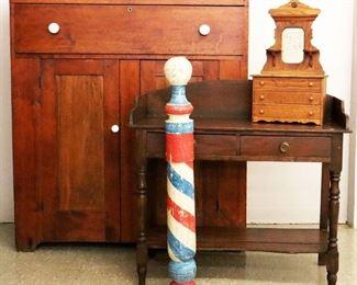Barber Pole, Pine Jelly Cupboard, Washstand, Barber pole