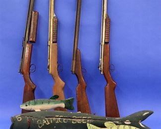 Benjamin Franklin BB Guns, Bait Sign, Fishing Decoys