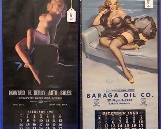 "3. Earl Moran ""A Modern Eve"" Advertising Calendar, February 1943.  16"" x 33 1/2"" overall.  Some corner damage. 4. Elvgren ""Celeste"" Advertising Calendar, December 1960.  16"" x 33"" overall."