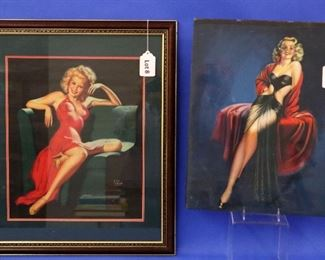 """8. Earl Moran Vintage Pin-Up Poster.   Depicting a blonde young woman, seated, and wearing a red dress.  16"""" x 19"""".  Framed.   9. Billy Devorss """"Dancing Darling"""", 1947.  16"""" x 20"""".  Some edge/corner damage."""