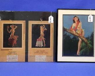 "10. Gil Elvgren & Haddon Sundblum Full Advertising Calendars, 1947 & 1949.  Approximately 9 1/2"" x 15"" overall. 11. Billy Devorss ""Island Serenade"" 1940s Pin-Up Poster.  12"" x 16"".  Slight damage at the lower right corner."