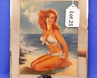 "25.Maxine Stevens ""Summer Siren"" Pin-Up Poster.  7 1/2"" x 10"".  Original 1950s frame."