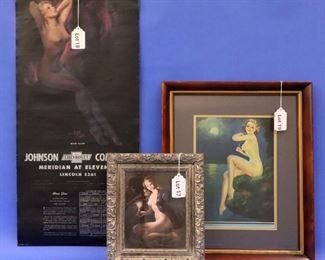 """17. D'Amario Vintage Pin-Up Poster.  Depicting a young, nude woman holding a lit candle.  7 1/4"""" x 9 1/4"""" (sight).  Framed.                                                                      18. Zoe Mozert """"Moon Glow"""" Chevrolet Advertising Calendar, 1947.  16"""" x 33 1/2"""".  Some creasing and slight tear at upper left.  19. Irene Patten """"A Moonlight Nymph"""" 1936 Pin-Up Poster.  10 1/2"""" x 15"""".  Framed."""
