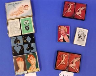38.Two 1940s Double Sets of Vargas Pin-Up Playing Cards.   39.Six Decks of Reproduction Marilyn Monroe Playing Cards.