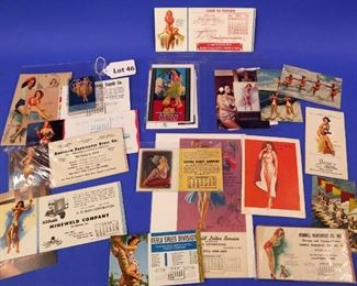 46.Twenty-Two Pieces of Pin-Up Post Cards & Blotters.  Mostly from the 1950s.