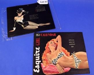 47.A 1954 Esquire Calendar.  With images by Ernest Chiriaka; complete year.