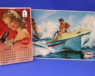 48.A November/December 1948 Coca-Cola Calendar Page.   49. A Schmidt's Beer Advertising Poster, c. 1960s.