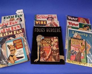 50Thirteen Erotic Books & Magazines.  Including Liberty, Titter, and Night Club Girl.