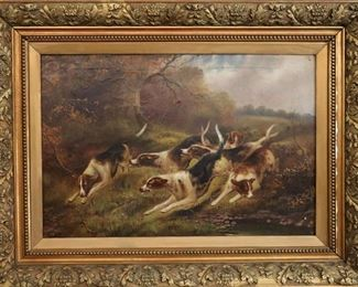 "Samuel Jones (1790-1875) ""Hounds on the Hunt"" Oil on Canvas"