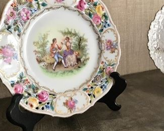 Bavarian lace punch plate with easel