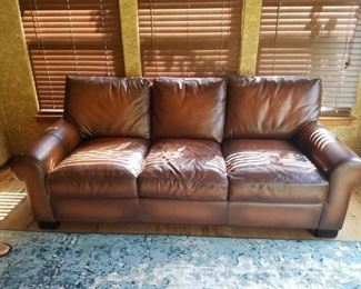 Pottery Barn leather sleeper sofa - turns into a queen size bed!
