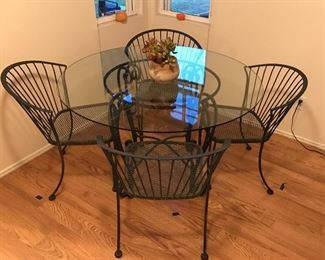 Rare vintage heavy rod iron for chair dining room set with heavy glass
