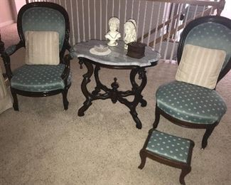 Victorian marble top table & side chairs.
