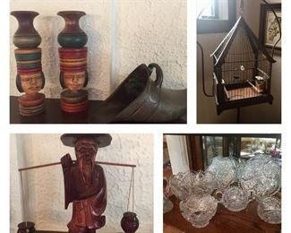 Many items from international travel; vintage bird cage on stand (sold) Czech Bohemia cut glass items / wood carving / top picture is antique solid brass Spanish Conquistador stirrup - have a pair of these