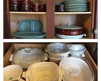 Large set of Redwing Village green pottery dishes;   selection of Corning Ware & FireKing (Corning ware is all sold)