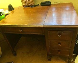 vintage, solid wood typewriter desk