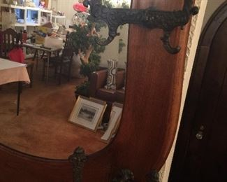 Beautiful, antique coat tree with storage & beveled mirror