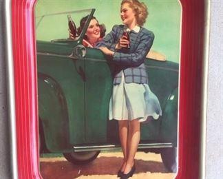 "1942 ""Two Girls at Car"" Coca Cola Tray"