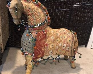 Handmade Whimsical Horse embellished with exotic fabrics, beads & bobbles. Made in India