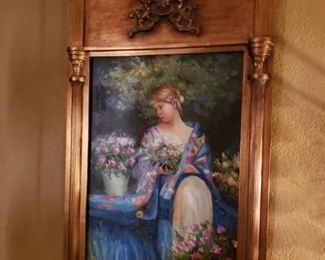God framed Print of girl with flowers