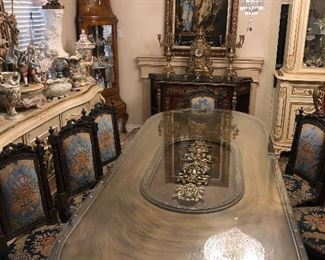 Impressive French dining table and 8 chairs