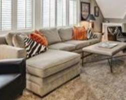 Sectional sofa, cocktail table, large area rug
