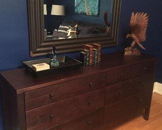 Six drawer dresser, mirror, decor