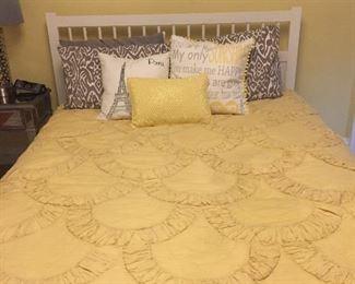 Bedding, pillows, Paris art (bed not for sale)