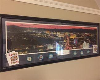 Framed Las Vegas print with poker chips