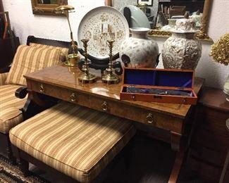 Thai vases, plate, Japanese carving set, mirror, desk lamp