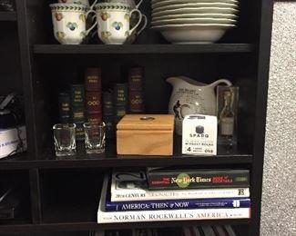 Coffee table  books, Jack Daniel's coasters, shotglasses