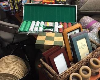 Poker chips, frames, candles