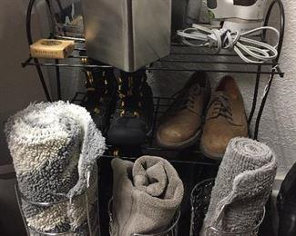 Bathroom rugs, toilet paper holders,tissue boxes, Rowenta iron,  men's footwear Rockport, Frye, Keen