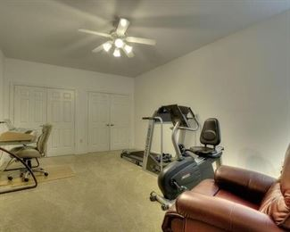 Tread mill, leather chair, stationary bike, book case, office chair and modern computer desk.