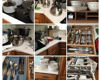 Pampered Chef pots and pans, stainless, Longaberger, stainless flatware, kitchen utensils.