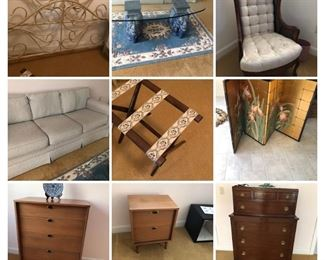 Queen headboard, elephant and glass coffee table, accent chair, sofa, luggage rack, beautiful iris screen, MCM dresser and night stand, dresser on dresser.