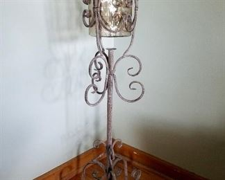 "Metal plant stand, 37"" tall."
