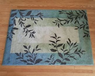 "Area rug, blues, beige, brown.  Leaves and branches pattern.  Made in USA.  46"" x 64.5"".  Also, matching small rug, 24"" x 36""."