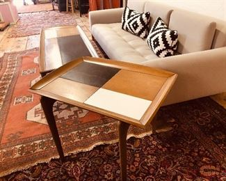 Mid Century Modern style with this classic set of geometric end and coffee tables