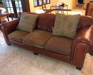 Sherrill leather couch with upholstered slip covers on leather cushions!!
