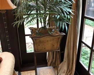 (2) faux plants on stands