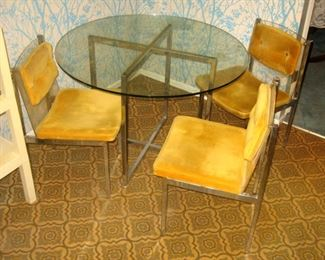 B. Brody Seating Company, made in Chicago, chrome, glass table top, lucite back chairs, screams MCM, 3 Chairs only as seen