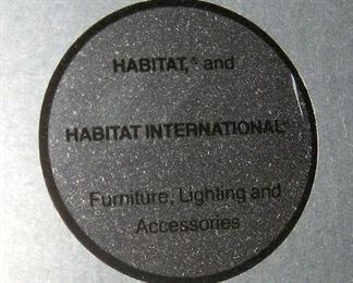 Label reads Habitat r and Habitat International Furniture Lighting and Accessories
