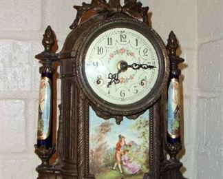 GORGEOUS PORCELAIN & IRON MANTEL CLOCK - LOUIS XVI STYLE - 8 DAY CLOCK