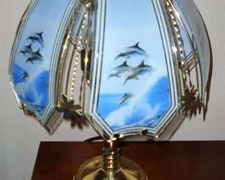 GLASS DOLPHIN TOUCH LAMPS - WE HAVE THE PAIR