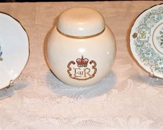 "(LEFT) PARAGON FINE BONE CHINA ""THE CORONATION OF QUEEN ELIZABETH II, 1953"". (CENTER) CARLTON WARE GINGER JAR ""ENGLAND"". (RIGHT) ROYAL STAFFORD BONE CHINA ""ENGLAND"""