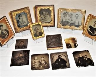 ANTIQUE TINTYPES , SOME ARE FRAMED WITH GOLD GILTED GLASS FRAMES. THIS IS NOT ALL OF THEM...